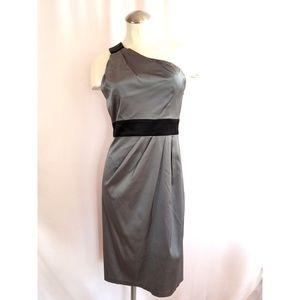 Donna Ricco Size 8 One Shoulder Dress Gray
